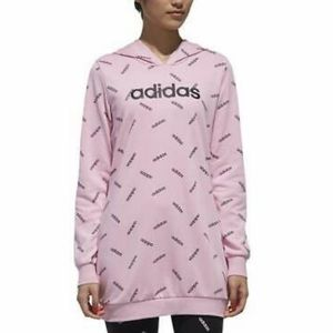 Adidas Women's All Over Logo Print Hoodie Pink